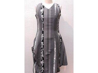 変形スカート ノースリーブワンピース(着物リメイク)(正絹 小紋)【opV10】の画像