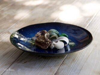 菓子皿   青×黒釉の画像