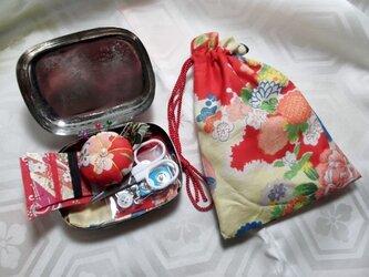 和のお裁縫箱*レトロ赤花 小判の画像