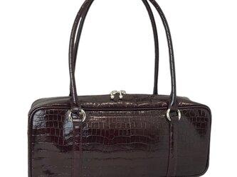 オール牛革 本革バッグ 横長ボストンバッグ リアルレザー(クロコ型) ダークブラウンの画像