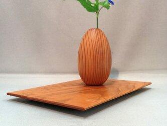 木製 トレイ カフェトレイ 花台 花瓶敷 ヤマザクラ 無垢材の画像