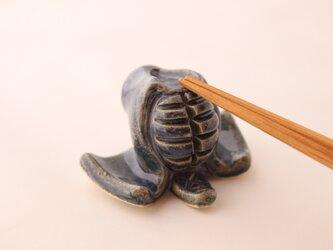 剣道のメン箸置き(藍色)の画像