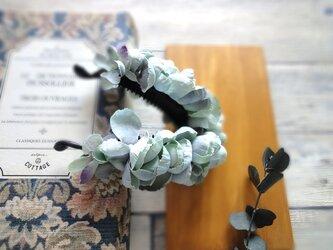 紫陽花のバナナクリップ ■ ふんわり優しいシルエット ■ ブルーの画像