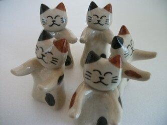 猫の箸置き5個セット(ちょうだい三毛)の画像