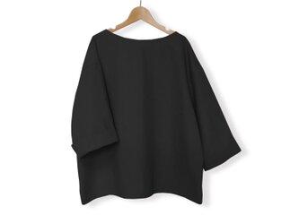 リネン100%ゆる袖ボートネック7分袖丈プルオーバー_Blackの画像