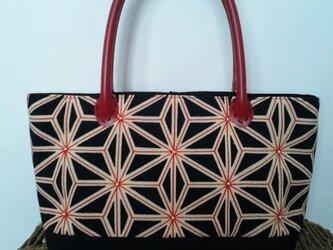 麻の葉もよう&刺し子風ビーズ刺繍・帯地トートッバッグの画像
