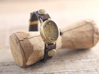 【受注生産】まるいゆらぎの時計 tate w-shima gold Y004の画像
