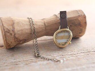 【受注生産】首からさげる時計 w-shima white YN003の画像
