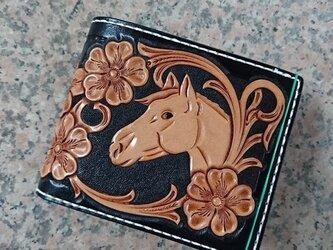 馬と華のショートウォレットの画像