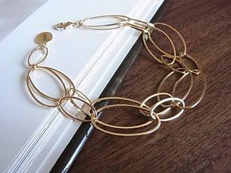 Oval chain design bracelets(double)の画像