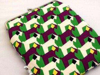 【受注制作】幾何学ワンコとまる四角サンカク - ipad miniケース/がま口ポーチの画像