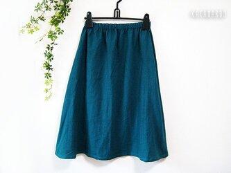 着丈が選べる綿麻ギャザースカート 青緑 【受注】の画像