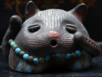 彩門縄文様黒御影猫土偶「青」#Wの画像