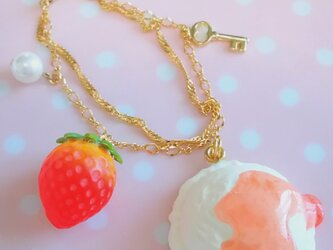 【送料無料】とろ~り苺シロップのかかったアイスチャーム♡の画像