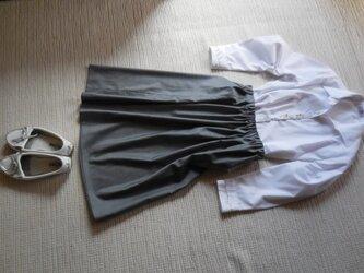 9000円引き!英国製輸入生地で作ったグレーのコットンスカート!の画像