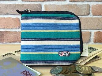 オシャレで機能的!旅に便利な、カード・お札・コイン用 帆布財布 緑系の画像