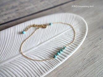 【受注生産】天然石のブレスレット■ターコイズ ライトブルー × 極細ダイヤモンドカットチェーンの画像