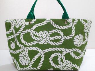 縄柄のミニトートバッグ(緑)の画像