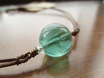 ブルーグリーン・フローライトのシンプルネックレスの画像