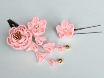 七五三♫正絹 椿の髪飾り【受注製作】ミニ ピンク Uピン花1輪付き つまみ細工 かんざしの画像