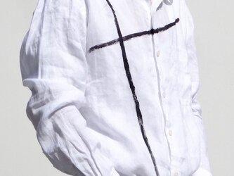 本麻白  クロス柄 メンズシャツ( 送料無料)の画像