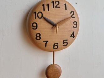 手作り木製字時計 振り子 20cmの画像