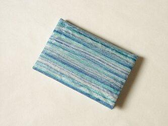 絹手染カード入れ(横・淡緑ブルーグレー)の画像