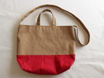 【受注製作】アーモンド×イチゴ 倉敷産帆布使用2WAYの画像