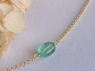 再販【K14gf】宝石質エメラルドの一粒ネックレス の画像