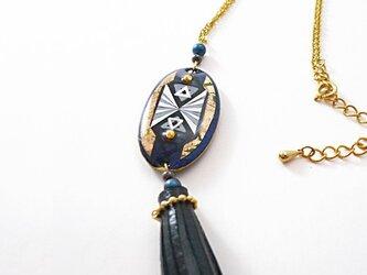 Leather tassel [Navy×Black] ネックレスの画像
