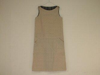 綿 生成 紺絣風 ノースリーブワンピース Mサイズ2の画像