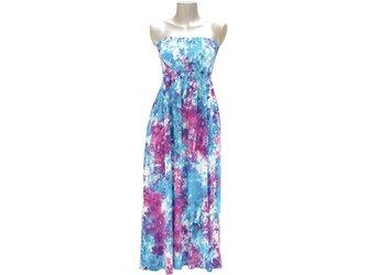 夏の新作!ムラ染めチューブトップドレス <ブルーピンク>の画像