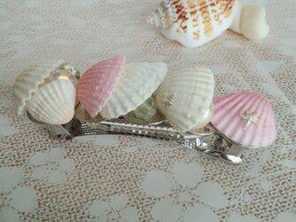 シェル&ビーズのマリンバレッタ(ピンク)の画像