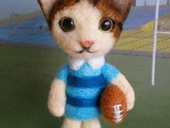 羊毛フェルト ラグビーボールを持った猫ちゃん(予約品)の画像