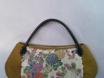 四季の花柄・着物地・丸長トートバッグの画像