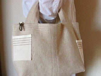 リネンと帆布のマチたっぷりトートバッグの画像