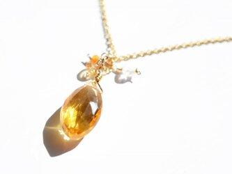 宝石質シトリン*マーキスブリオレットカットカット*ペンダントトップ【14kgf】の画像