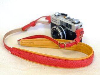 やわらか 革のカメラストラップ(名入れ可) 赤 ※受注生産の画像