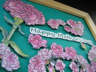 【展示品】母の日カード 額縁入り 「春桃色 カーネーション&バラ」の画像