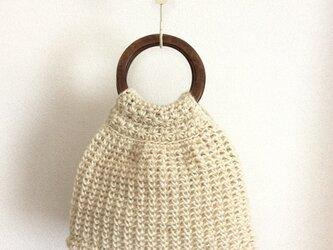 麻ひもミニバッグ 木製ハンドルの画像