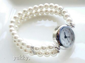 【再×3】<受注制作>ブレス腕時計(パール・ホワイト系シルバー)・Aの画像