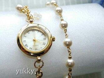 【再販】<受注制作>ブレス腕時計+ブレス(クリーム系G) ・Bの画像