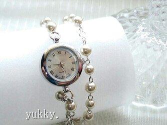 【再販】<受注制作>ブレス腕時計・2連巻き(シャンパン系)・Bの画像