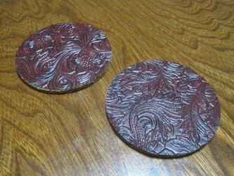 型押し カービングFレザー 2枚セット 赤茶の画像