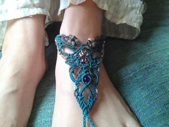 barefoot anklet / bluegreen × amethystの画像