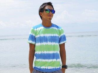 メンズタイダイクルーネックストレッチTシャツ <オーシャングリーン> サイズSの画像