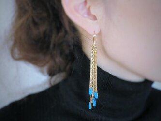 ヴィンテージターコイズフリンジピアス vintage pierced fringe <PE-Fgl>の画像