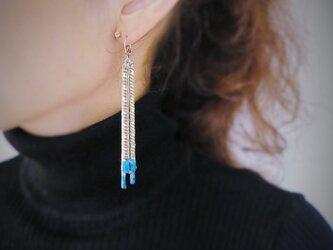 ヴィンテージターコイズフリンジピアス vintage pierced fringe <PE-Fsv>の画像
