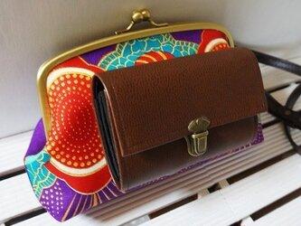 アフリカの風と大地を感じるショルダーガマ財布 和紫の画像