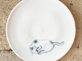 染付4寸猫皿 41の画像